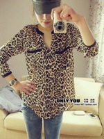 2013 free shipping women's shirt fashion color block decoration casual shirt loose plus size V-neck basic shirt ladies blouse