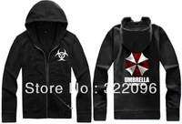 Free shipping 2013 new sale Resident Evil hoodies cardgian Umbrella Corporation symbol logo printed zip-up jacket 7 Color