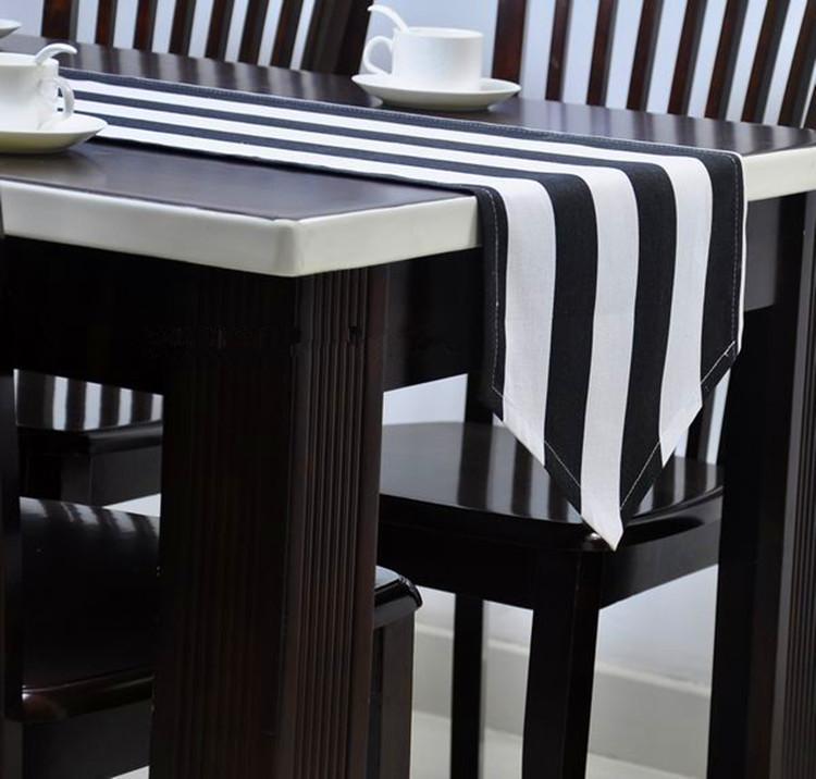 Black Table Runner Black And White Stripe Table