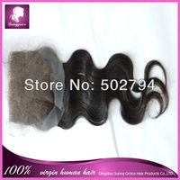 100% Human hair Body  wave Indian  hair Top closure