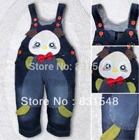 free shipping 2013 autumn children's cartoon chicken cowboy suspender trouser  Children's jeans
