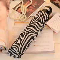 Newest Brief san xiang black and white zebra print fully-automatic windproof umbrella folding umbrella