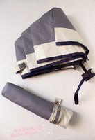 Newest Blue small apricot fresh classic fine stripe folding umbrella sun umbrella