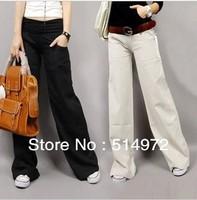 Best selling!ladies pants women Elastic waist cotton long leg wide pants trousers Free Shipping
