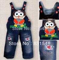 free shipping 2013 autumn children's cartoon owl cowboy suspender trouser  Children's jeans