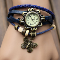 2013 female weaving belt Vintage Jewelry butterfly watches Ladies fashion gift bracelet watch whole sale Free shipping