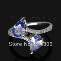 Jewelry Sets Vintage Two Stones Pear 5x7mm 14Kt White Gold Diamond Tanzanite Ring R0011