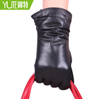 Women's 28cm pleated genuine leather gloves female winter thermal sheepskin gloves leather gloves multicolor