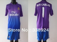 2013-2014 new season Real Madrid Goalkeeper Purple IKER CASILLAS #1 soccer football jersey Shirt+Short Embroidery Logo.