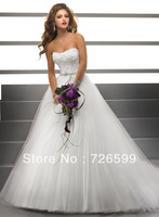 Free shipping 2014 New Style Elegant Long White/Ivory Applique Tulle A-Line Sweetheart Bridal Gown Wedding Dresses Custom Size