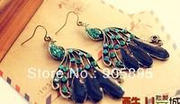 Free shipping  2pcs/lot animal drop earrings peacock modelling  earrings classic vintage drop earrings  crystal earrings