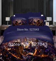 City Lights Luxury 3D Oil Painting Print 4pcs Bedding Sets/Comforter sets/Sheet set/Duvet Covers Full/Queen Size,PDN-05