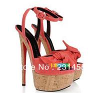 hot sell girls high platform bowtie suede high heel sandals 18cm heel shoes