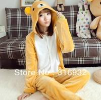 K2 Free shipping, Rilakkuma Plush onesie autumn and winter coral fleece long-sleeve Pajama