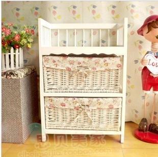 Sallei holy white rustic hand-knitted fabric drawer storage cabinet telephone stand bookshelf magazine rack
