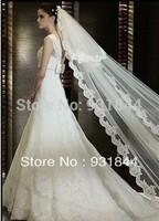 Wholesale Retail price Bridal veil 5 meters long elegant aesthetic lace tulle veil wedding accessories extra ultra long veil