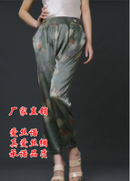 free shipping Silk pants summer silk pants mulberry silk casual pants loose mother pants print silk trousers