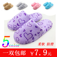 Autumn and winter at home interior floor soft outsole derlook lovers love cotton-padded platform slippers