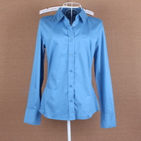 Spring and summer women professional women OL temperament Slim lapel long-sleeved shirt solid blue