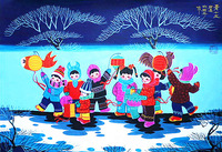 Chinese Spring Festival Lantern Festival children playing lanterns custom of Shaanxi Huxian peasant paintings