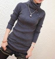 Women's slim medium-long pullover turtleneck sweater basic shirt sweater female