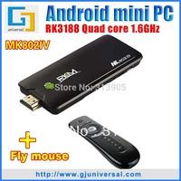 { SG&HK Post Free } 1pc Rikomagic MK802 IV + 1pc T2 Air Mouse  Quad core Mini PC RK3188 1.8GHz 2GB RAM 8GB ROM TV Stick XBMC