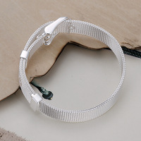Watch band bracelet wide in sterling silver 925 plated, free shipping (min-order $10) / CLB163