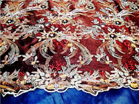 Outdoor single embroidered beads / sequins stage costumes embroidered Net Yarn fabric / Brownish red sequins fabric!
