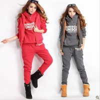 2013 new winter plus size top clothing casual sports set with a hood 3 piece set fleece sweatshirt set thickening outerwear