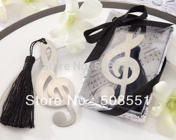 Treble Clef Brushed Metal Bookmark Favor With Elegant Silk Tassel