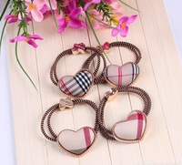 wholesal British style plaid heart design elastic hair band hair ties ponytail holder for kids girls hairbands Free shipping