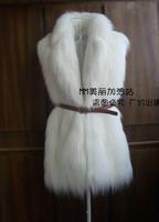 HOT! Leather grass imitation fox fur vest and long sections fur vest waistcoat large lapel long leather coat female grass