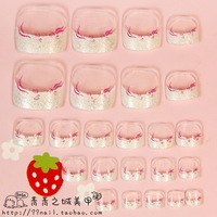 NEW 2013 High Quality French glitter toe Nails/False Nails/Fake Nail/Nail Tips,24 pcs,Free Shipping