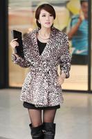 New arrivals Red fur coat medium-long 2012 slim leopard print women's xh081717