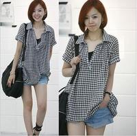 free shipping Mm2013 plus size clothing summer shirt medium-long shirt plaid loose  wholesale