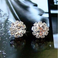 Min.order is $15 (mix order) Free Shipping Korean version Shiny Sunflowers Zircon Fashion Earrings C576