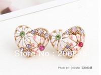 Fashion Jewelry 18K Gold Plated Heart Earrings Flower Earring Colorful Earring