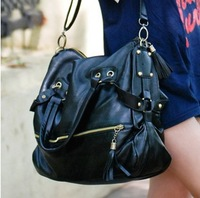 2013 motorcycle bag one shoulder cross-body rivet tassel vintage brief black big women's handbag bag