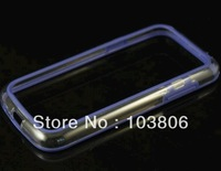 BUMPER CASE COVER Ultra Hybrid Middle Transparent TPU Bumper Case  for Samsung S4 MINI i9190 i9195 Black Soft TPU Side Bumper