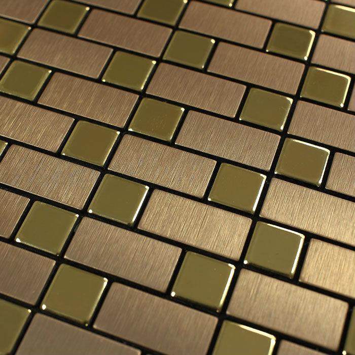 Metallic Tile Wall stickers brushed Interlocking Mosaic Tiles Wall brick Stainless Steel Sheet Metal Kitchen Backsplash 9102(China (Mainland))