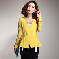 Dadayuga2013 female suit elegant lace design short outerwear slim thin blazer