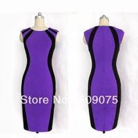 New Summer Womens' Optical Illusion slimming Stretch Zipper Back Bodycon Party Knee-Length Cocktail Pencil Dress