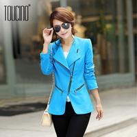 Toucino 2013 autumn women's formal suit blazer jacket slim zipper suit female