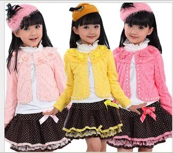 hot sale wholesale 4set/lot new autumn or fall leisure children's clothing set cute girl coat + shirt + lace skirt 3pcs suit