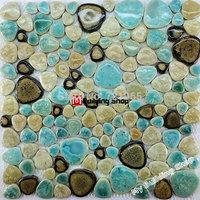 Glazed porcelain tiles stone mosaic floor tile PPMT013 porcelain pebble mosaic tile backsplash bathroom mosaic tiles