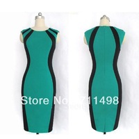 Free shipping New Summer Womens' Optical Illusion slimming Stretch Zipper Back Bodycon Party  Dress