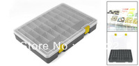 Gray Rectangular Plastic Adjustable 32 Slots Tool Electronic Component Case 9.9""