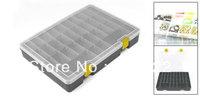 "Gray Rectangular Plastic Adjustable 32 Slots Tool Electronic Component Case 9.9"""