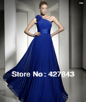 One Shoulder with Handmade Flower Ruffle A-line Royal Blue Long Evening Dress