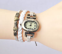 three threads purse Vintage ladies  bronze Beads Elliptic watch Bracelet  [JCZL DIY Shop]